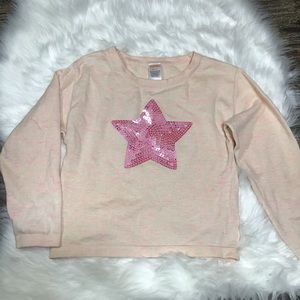 Gymboree cream marbled sweater with sequined star.